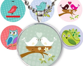 Birds & owls 1 inch round circles - Instant Download no 401