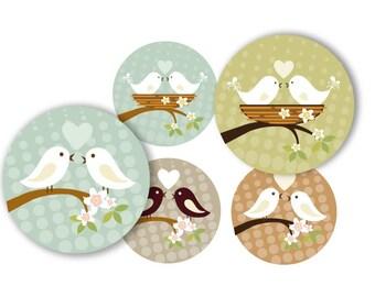 Love birds  - 1 inch round - digital file (size 8 x11) no. 423 instant download