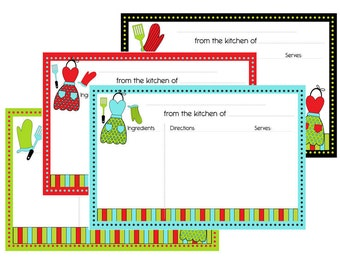 Kitchen Theme with Aprons Recipe cards Typeable pdf  4x6 No 818 - instant download