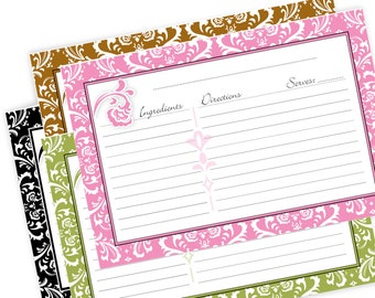 Damask Recipe Cards 4x6 DIY Printable No 827 instant download