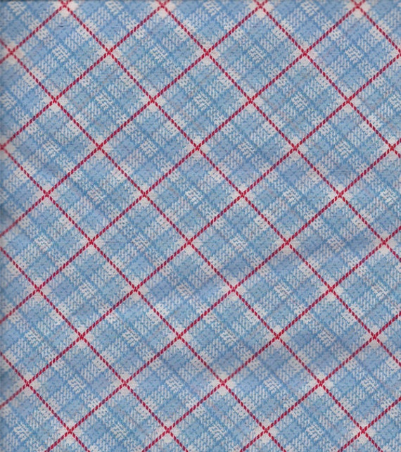 1/2 yard Blue and red Plaid print COTTON  fabric
