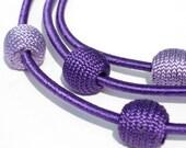 Silk Balls Necklace PURPLE double colored