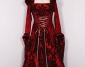 Burgundy dark red velvet taffeta damask flock medieval dress with hood