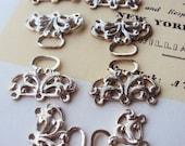 Vintage jewelry Supplies Triple Strand Necklace Bracelet Fastener Connectors Silver Tone Metal