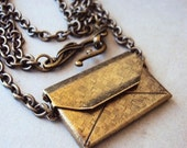 Antique Brass Double Chain Necklace with Envelope Pendant