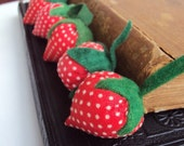 Vintage Strawberry Pincushion Set in Retro Red and White Polk a Dots and Wool Stems