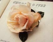 Vintage 50s Millinery Flower Pin Corsage or Brooch Soft Pink Rose