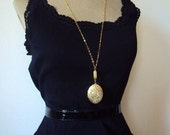 Vintage Large Locket Necklace Engraved Brass Copper and Gold Plate Chain