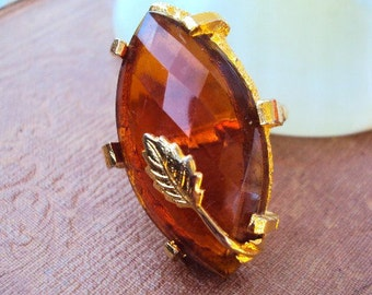 Vintage Cocktail Ring Spicy Amber Stone set in Gold Plate