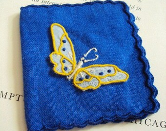 Vintage Linen Pincushion Book Pin Booklet with Embroidery Butterfly