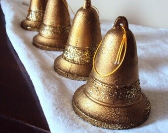 Vintage Christmas Ornaments Bells with Gold Glitter