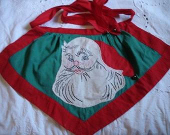 Vintage Christmas Apron Embroidery Santa Claus with Jingle Bells