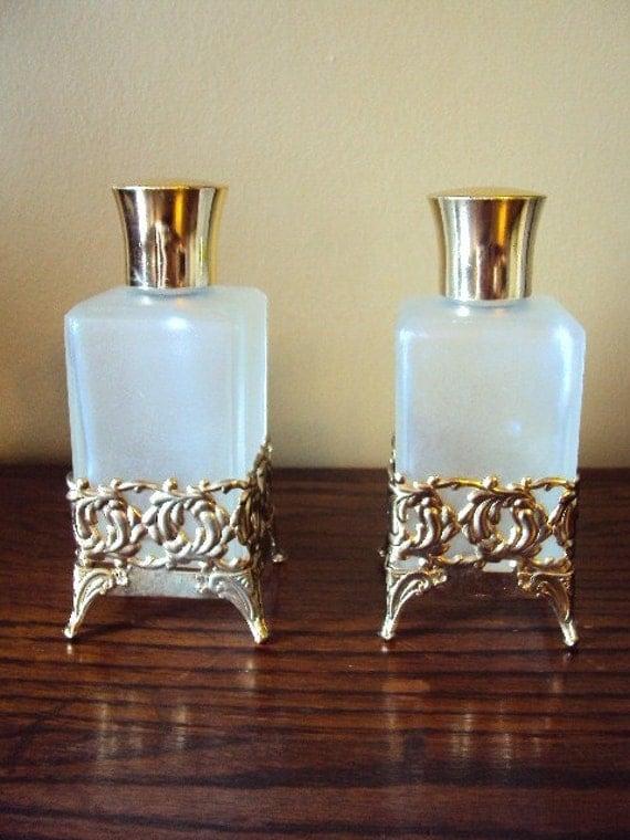Vintage Antique Perfume Bottles with Filagree Case