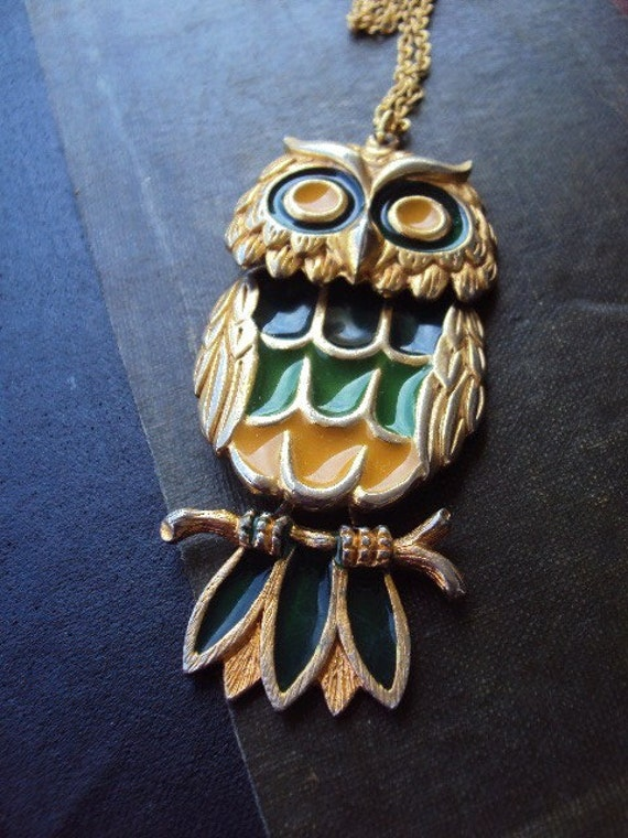 Vintage Long Necklace with Large Enameled Owl