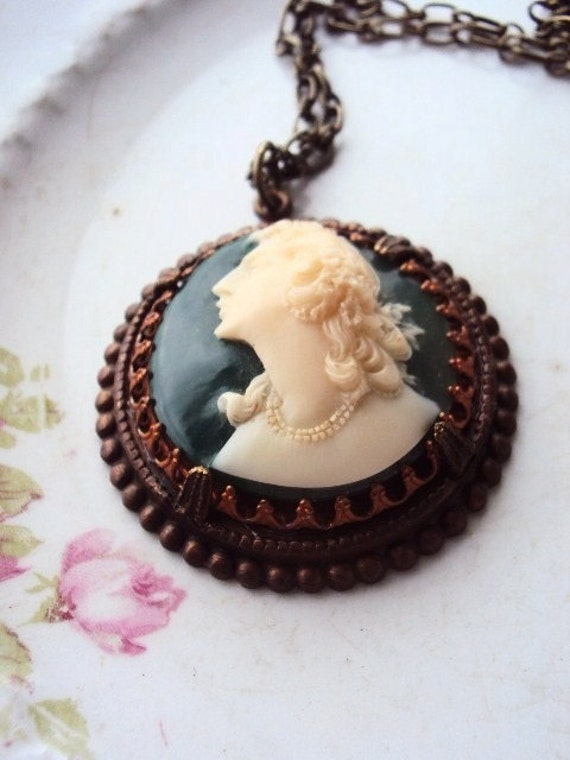 Repurposed Vintage Cameo Necklace set in Antique Copper and Brass
