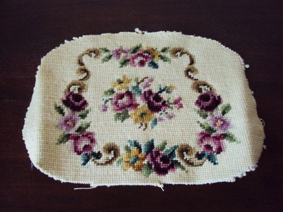 Vintage Needlepoint Seat Cover Tapestry Material