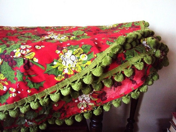Vintage Christmas Tree Skirt Linen Cotton Material And Pom Pom