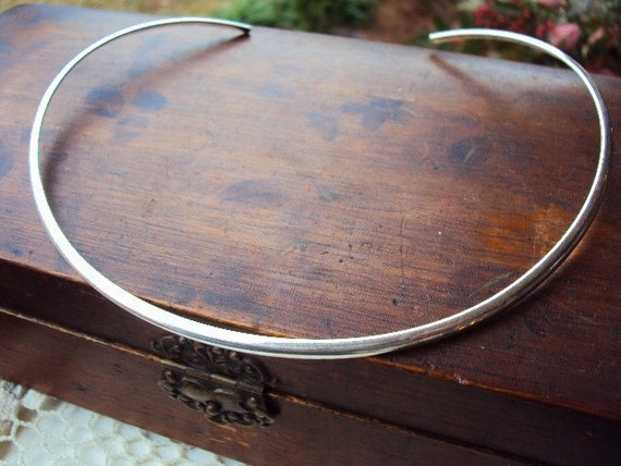 Vintage Sterling Silver Cuff Necklace