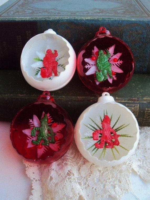 Vintage Jewel Brite Christmas Ornaments Diorama Santa Claus
