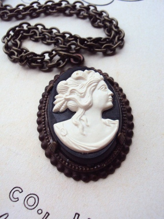 Vintage Cameo Necklace with Antique Brass