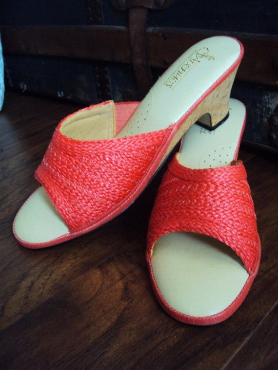 Vintage Coral Straw Shoes with Cork Heel Summer Mule