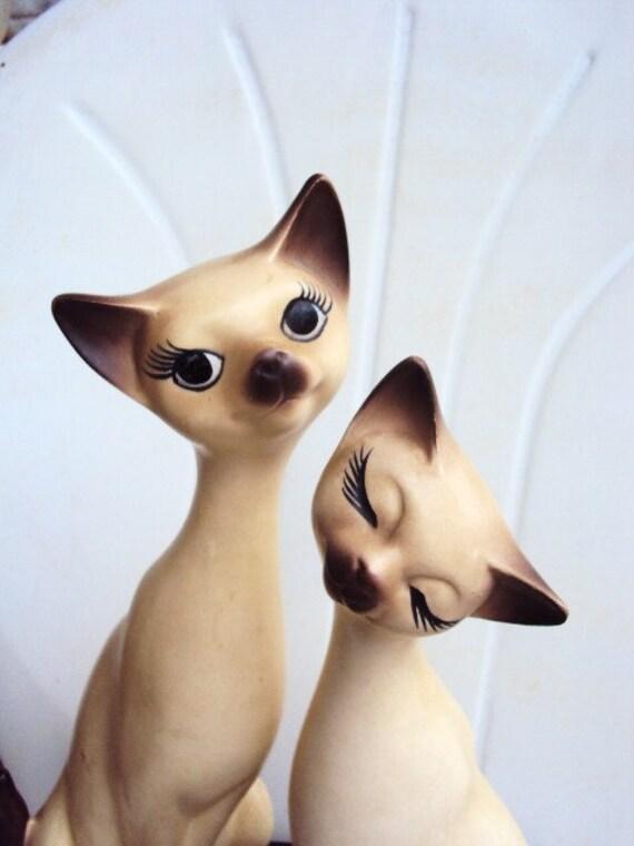 Vintage Napcoware Mod Siamese Cat Figurines Beautiful