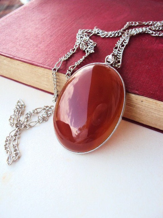 RESERVED LISTING....Large Red Agate Stone Necklace with antique Silver Chain