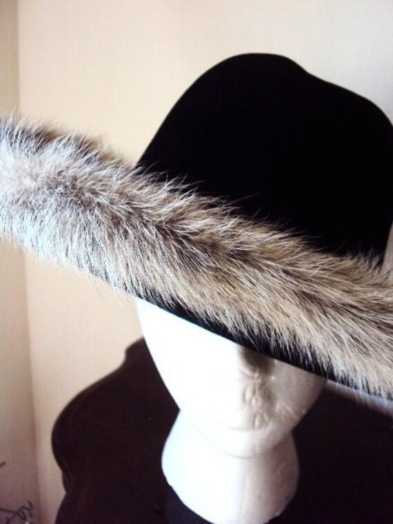RESERVED....Vintage Blue Fox Fur Hat with Black Velveteen Mr. John Jr.