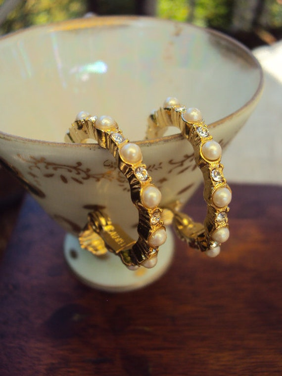 Vintage Monet Hoop earrings with Pearls and CZ Stones in Gold Plate