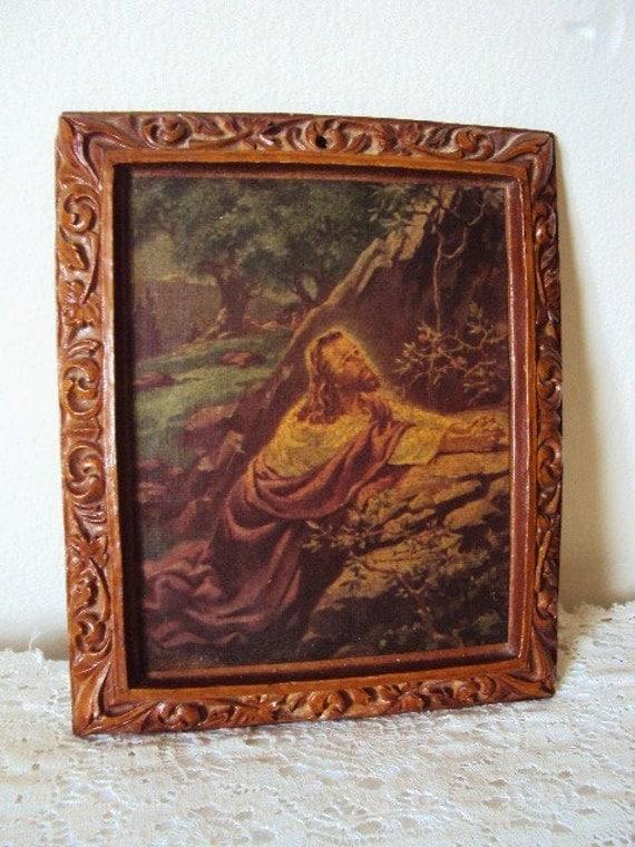 vintage  picture lithograph jesus   garden