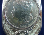 sterling silver money clip engraved with 1890 morgan silver dollar