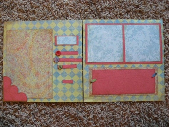 Items Similar To 8x8 Pre-made Scrapbook Pages (two Page Spread) On Etsy