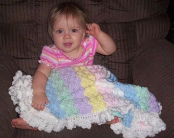 Pastel Hand Crocheted Baby Blanket with Ruffle