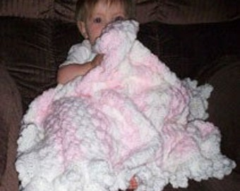 Pink and White Hand Crocheted Baby Blanket