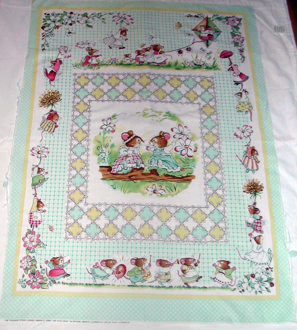 Discontinued Baby Quilt Fabric Panel When The Cats Away Mice