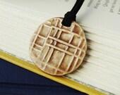 Round Ceramic Pendant with Plaid Design