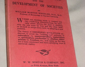 Emergent  Evolution And The  Development Of Societies 1928 Book