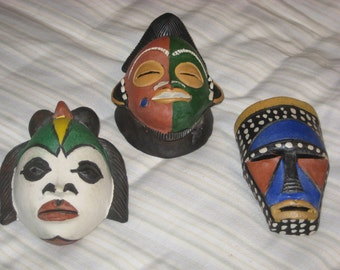 Group 3 Hand Painted Masks Artist Made Sout Africa Wall Art
