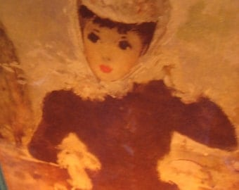 Rare Mid Century  Parisian Girl LIGHT UP Electric 1950's Fabulous Picture Electric