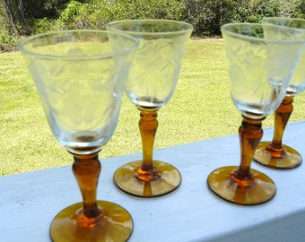 ANTIQUE CORDIALS Cut Glass with Amber Stems Set of 5    Dorflinger