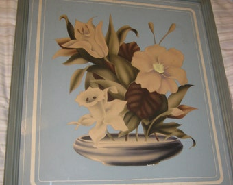 Vintage 1930s Shabby and Chic Blue FLOWER PICTURE
