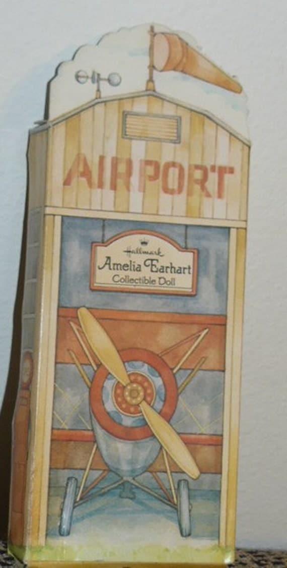 HALLMARK DOLL Amelia Earhart Cloth Doll in Cardboard Airport Box