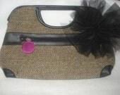 Dark Frill Handbag CLEARANCE