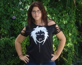 Anime T-Shirt off shoulder with tied arms
