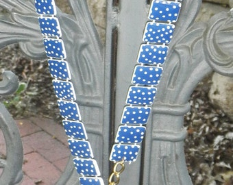 CLEARANCE Vintage 1980s Blue Polka Dot Plastic Chain Belt