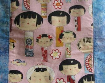 Wee Girls Hip Bag - Roomy Bag in Blue Batik with Whimsical Japanese Girls