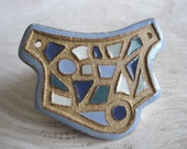 Handmade Ceramic Pendant Pectoral Series in Blue Teal Gray and White