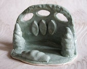 Handmade Ceramic Business Card Holder in Sage Green with Speckles