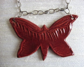 Handmade Ceramic Butterfly Pendant on Silver Plated Chain with Lobster Claw Clasp