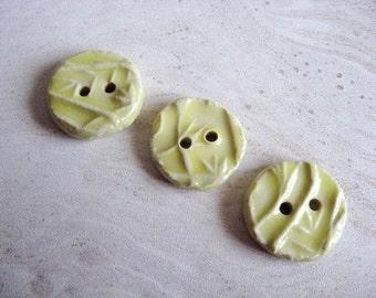 Set of Three Handmade Ceramic Buttons in Lemon Yellow with Vine Pattern